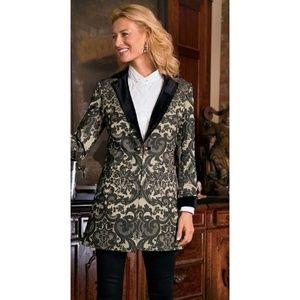 Soft Surroundings velvet trim metallic jacket | M